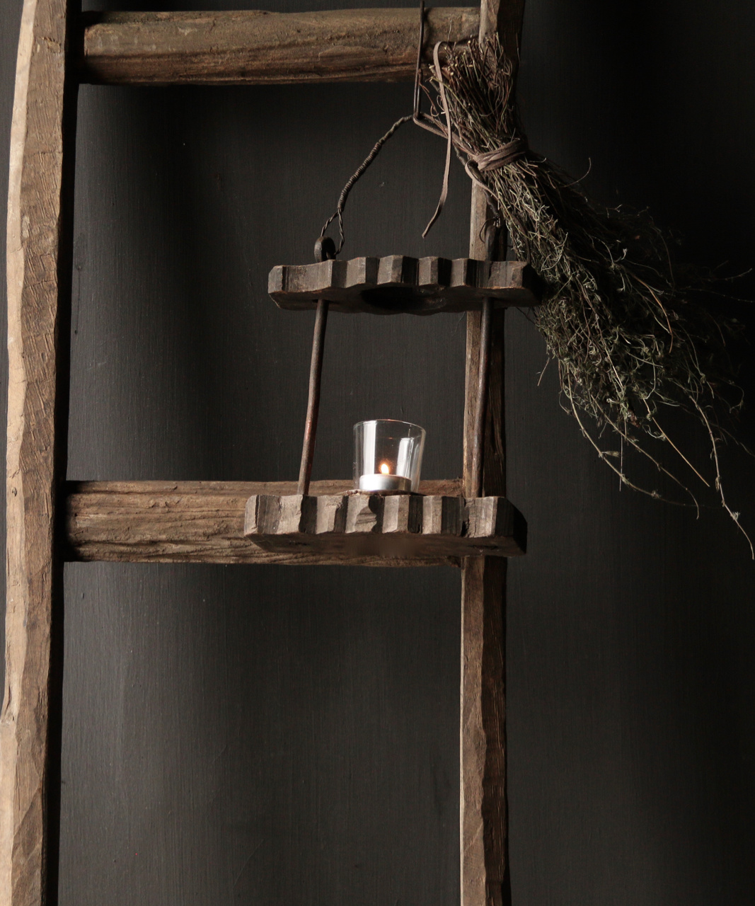 Old Authentic wooden lantern-2