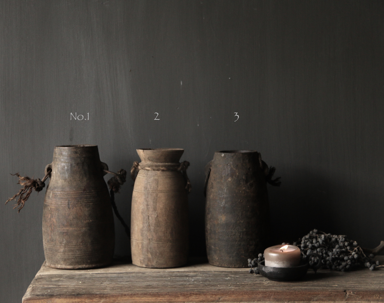 Old wooden Nepalese Jugs-2