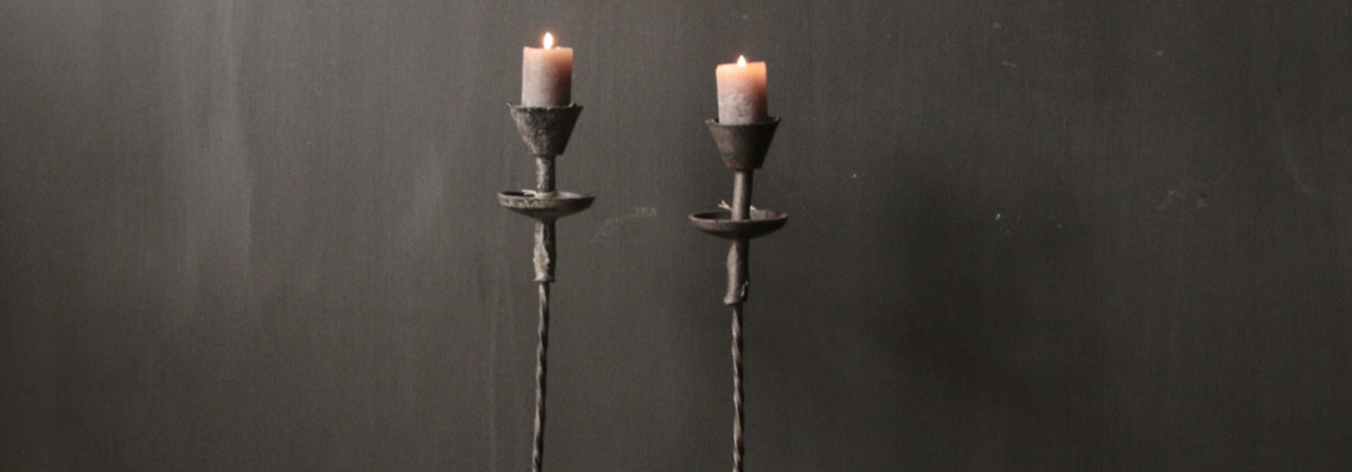 Authentic iron candlestick