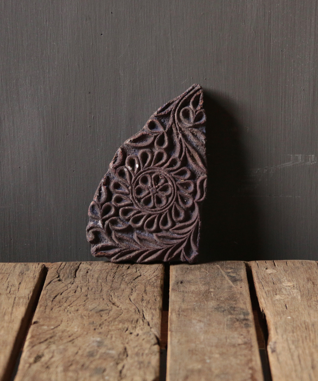 Oude houten Indische batik stempel-4
