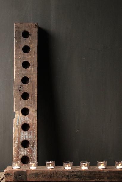 Long old driftwood wooden waxine light holder