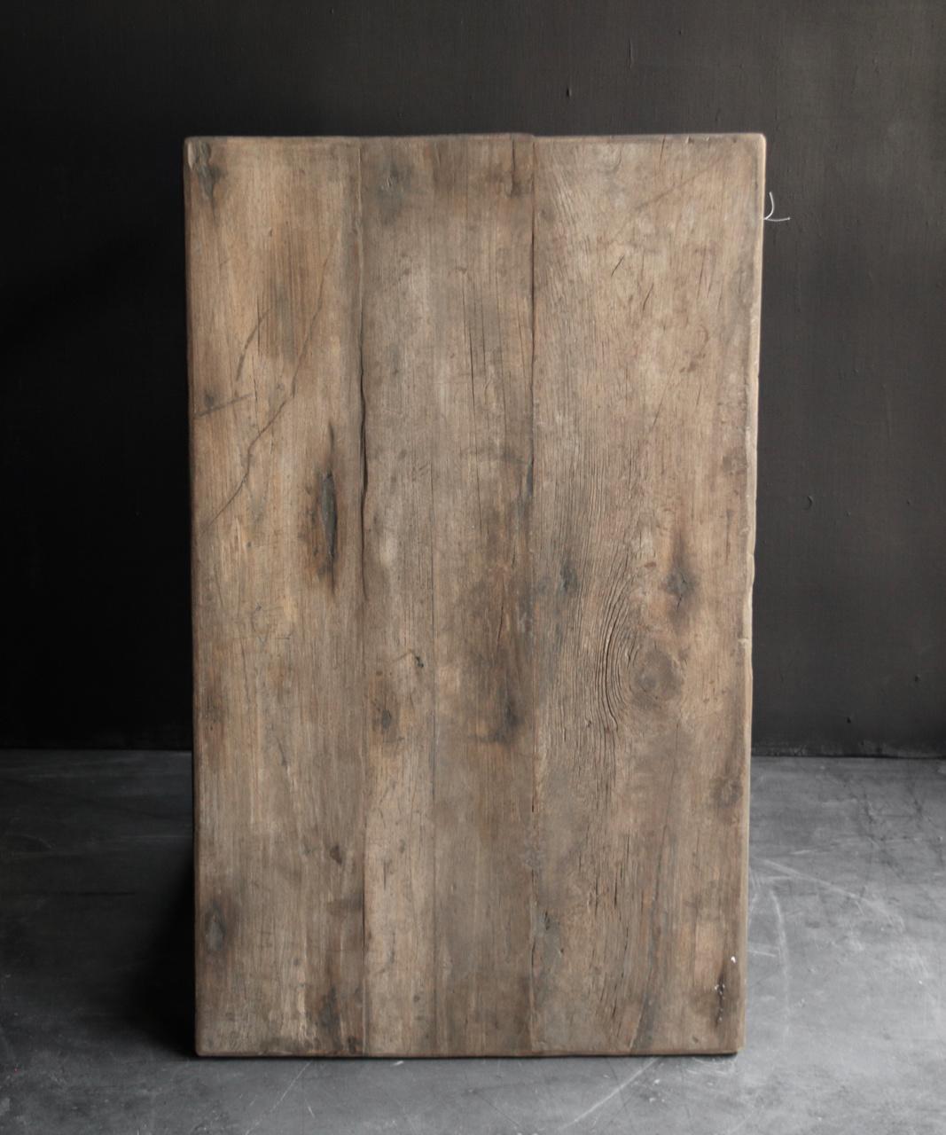 Oud Authentiek stoer klein driftwood  houten tafeltje-5