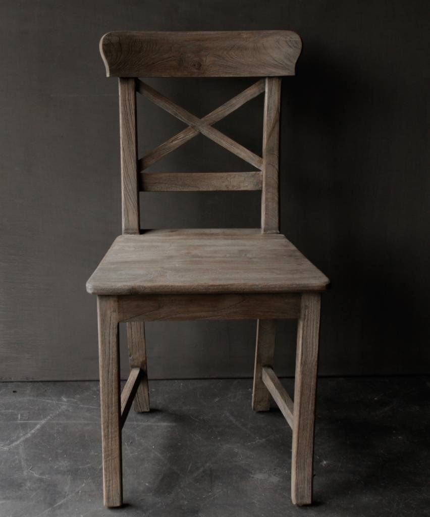 Vergrijsde Teak houten kruis stoel-2