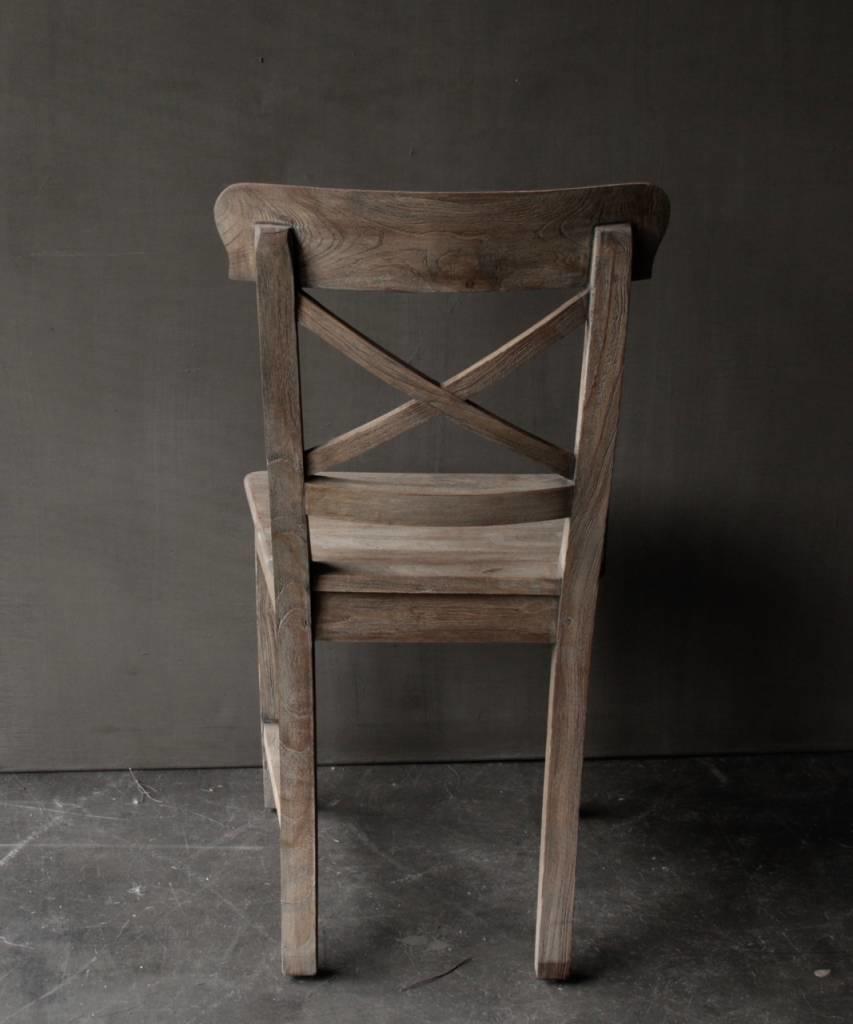 Vergrijsde Teak houten kruis stoel-3
