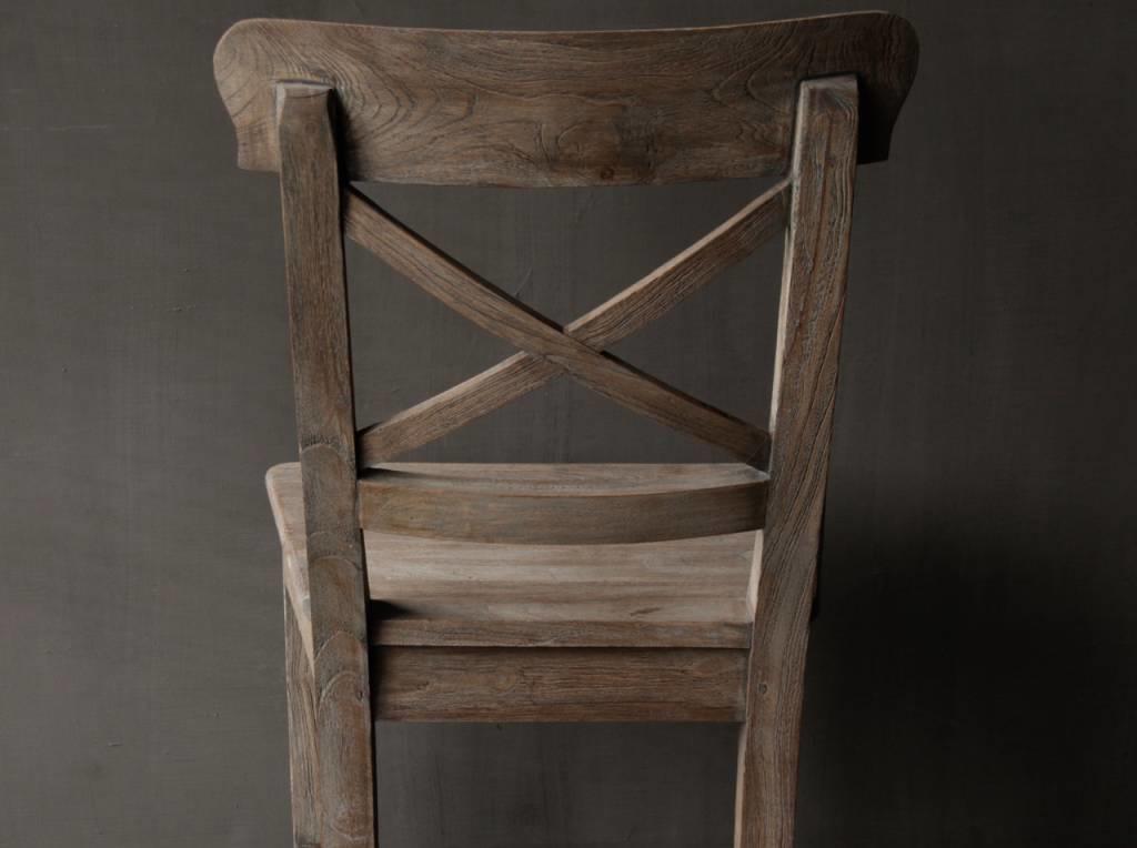 Vergrijsde Teak houten kruis stoel-4