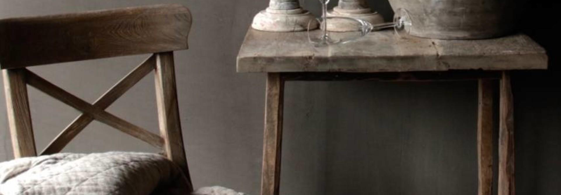 Gray Teak wooden cross chair