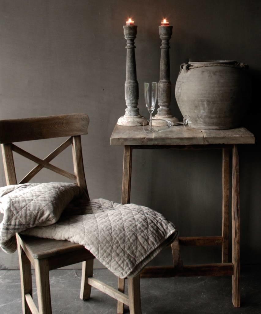 Gray Teak wooden cross chair-1
