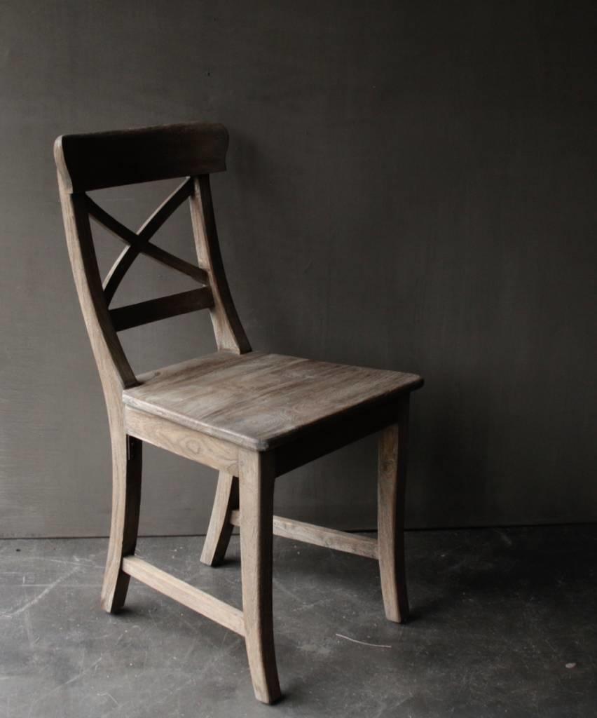 Vergrijsde Teak houten kruis stoel-6