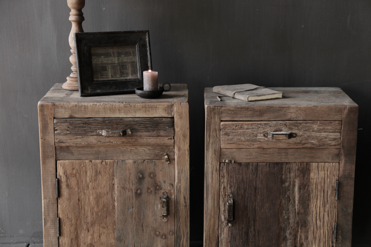 Old driftwood wooden cabinet or bedside table-2