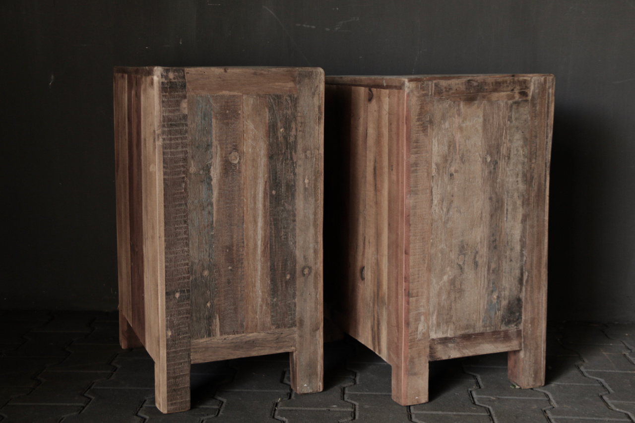 Old driftwood wooden cabinet or bedside table-3