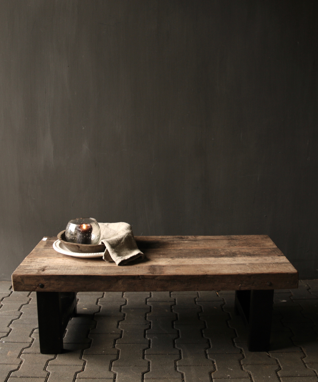 Old wooden driftwood coffee table with iron base-4