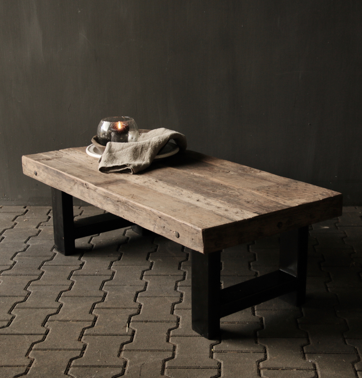 Old wooden driftwood coffee table with iron base-5