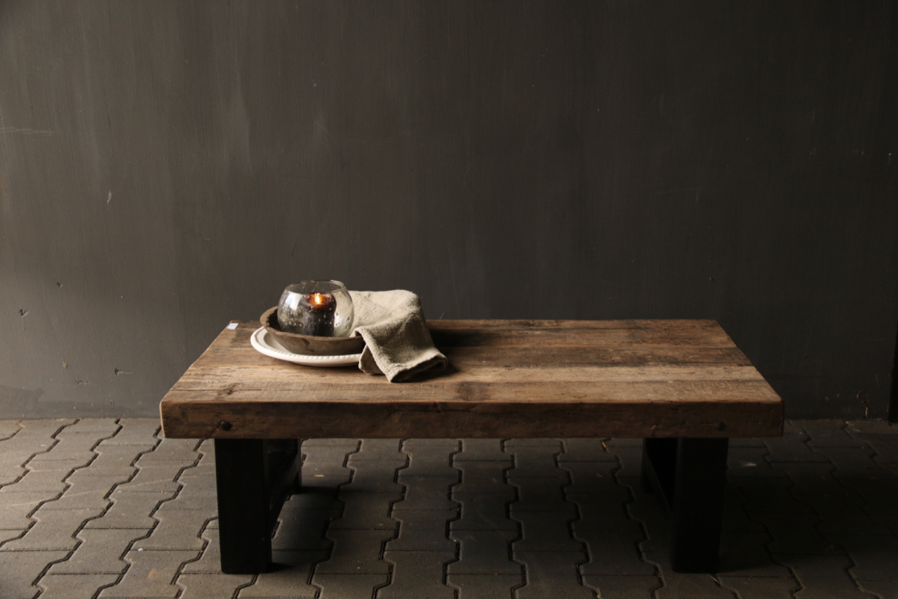 Old wooden driftwood coffee table with iron base-6