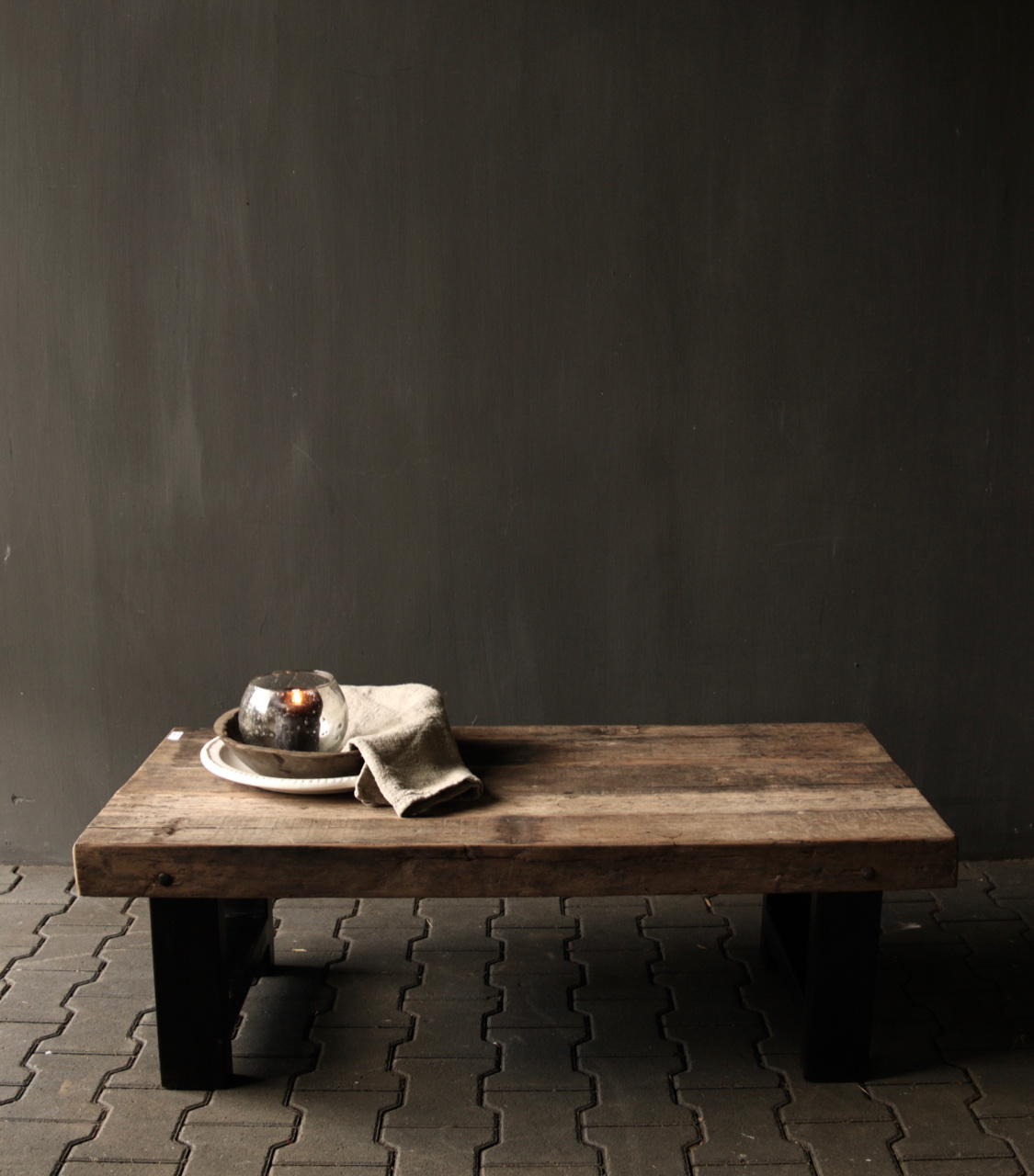 Old wooden driftwood coffee table with iron base-1