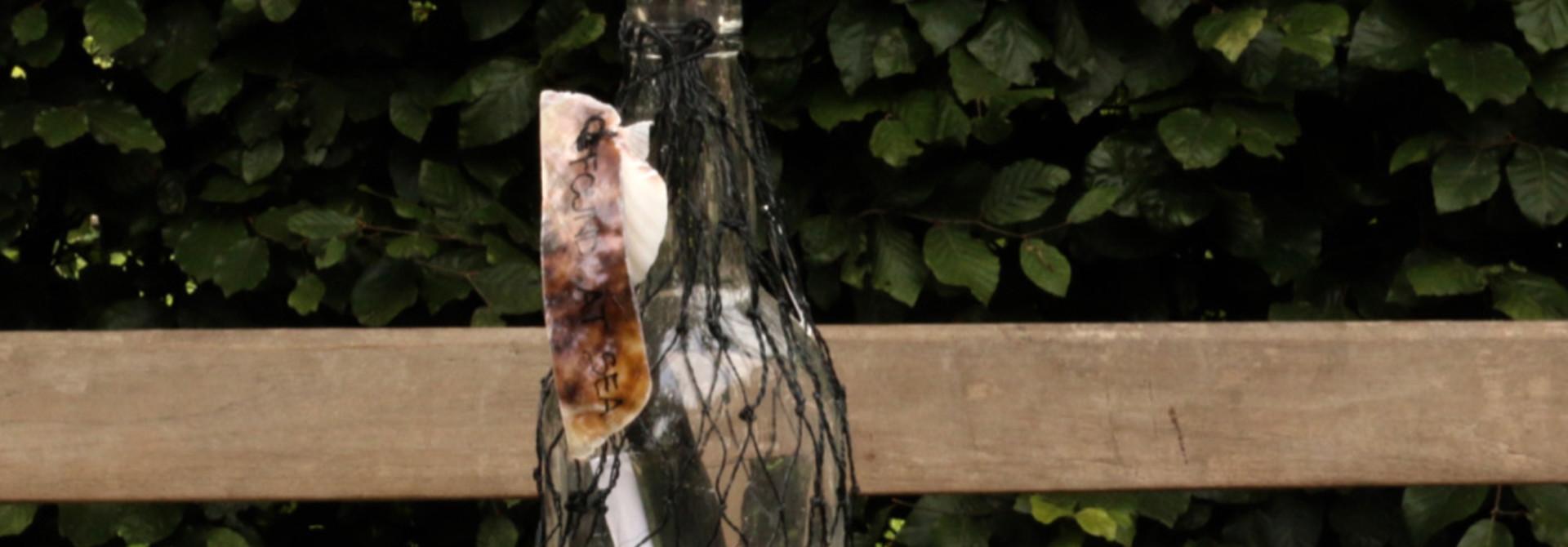 Bottle post bottle in net tied with a shell