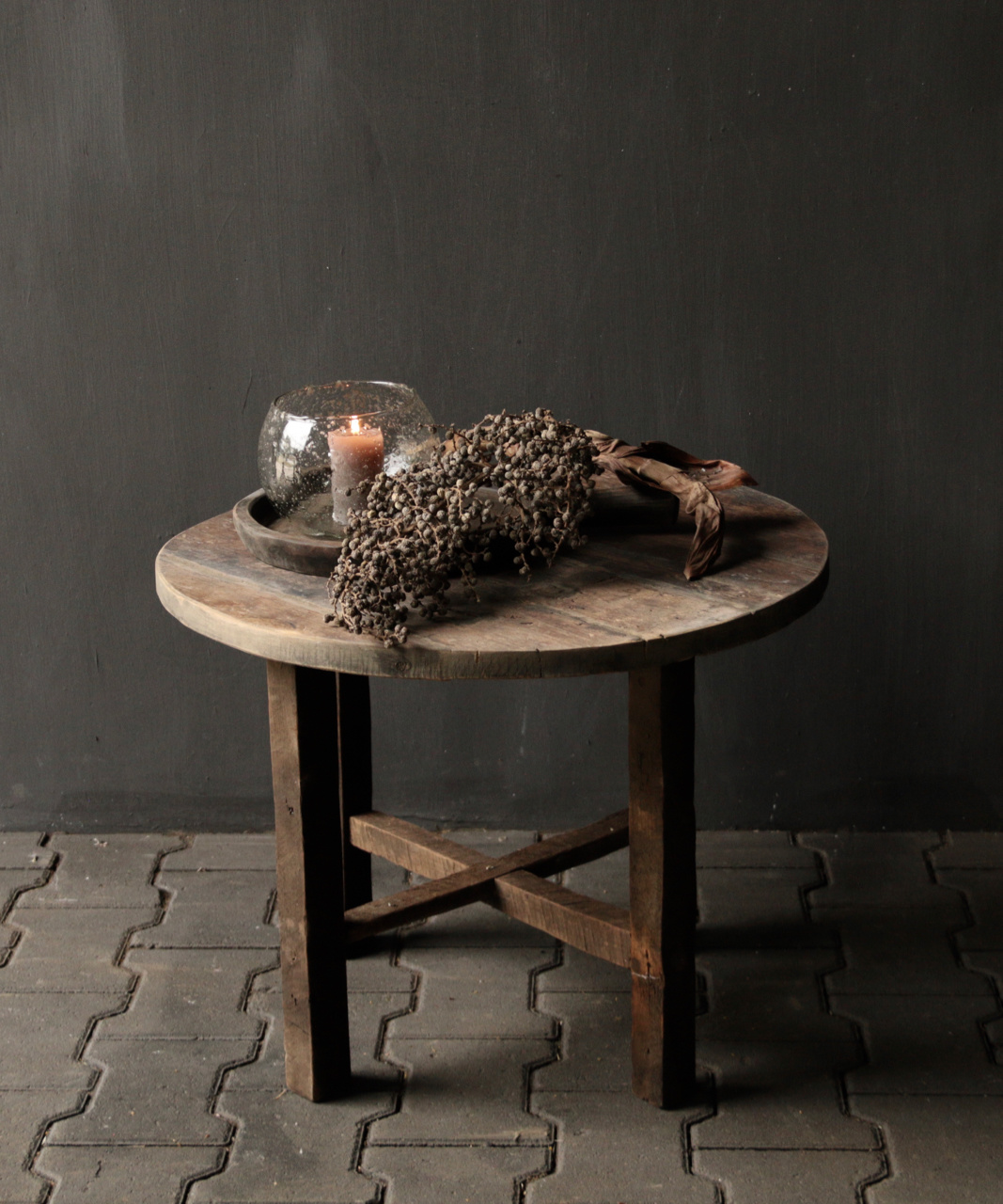 Small round Salon / Side table made from old used wood-1