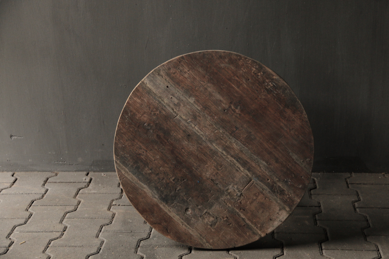 Small round Salon / Side table made from old used wood-3