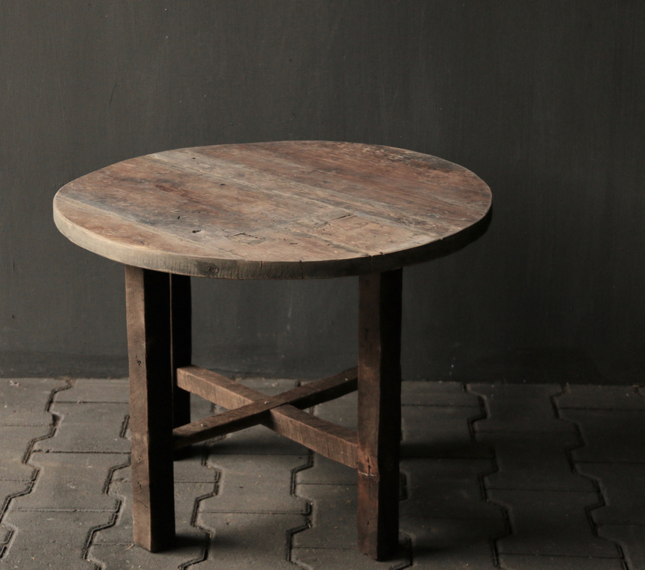 Small round Salon / Side table made from old used wood-4