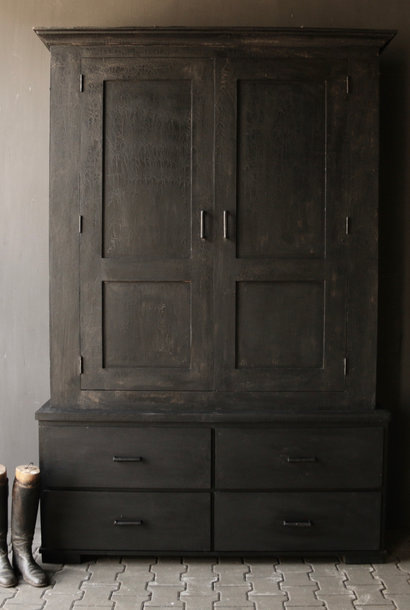 Matt Black Tough Country Cupboard with shelves and drawers