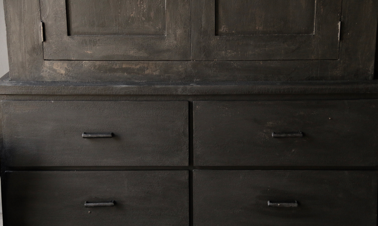 Matt Black Tough Country Cupboard with shelves and drawers-6