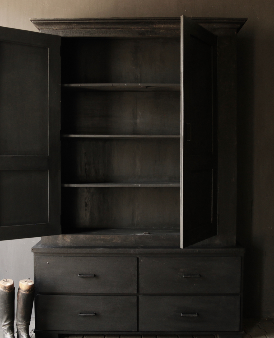 Matt Black Tough Country Cupboard with shelves and drawers-7