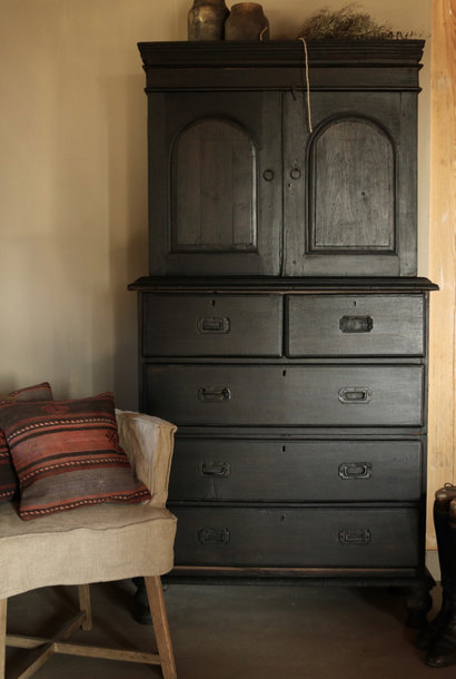 Antique Indian cabinet with drawers & two doors in the color black