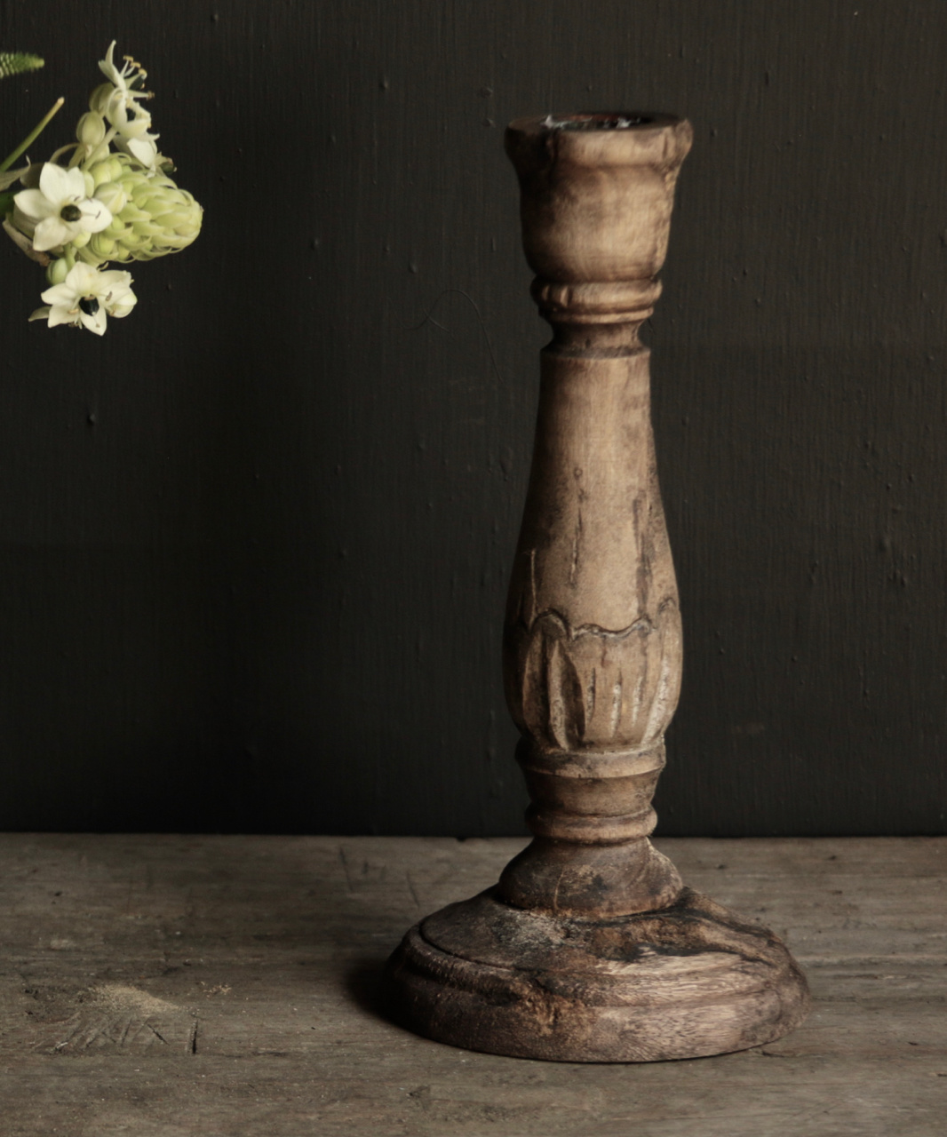 Tough old wooden candlestick-2