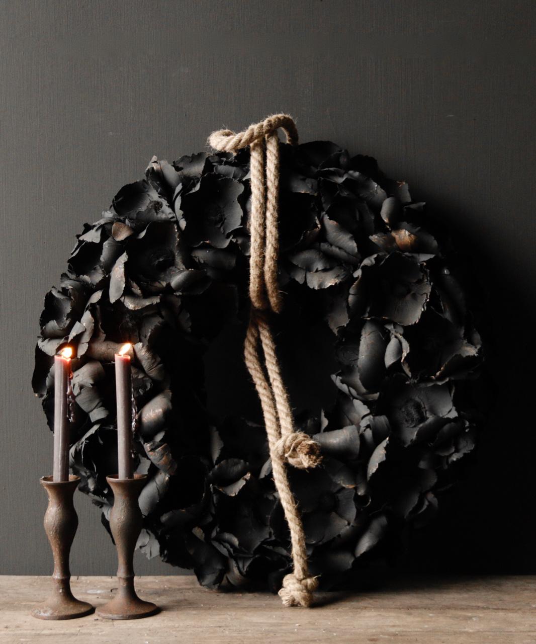 Stoere palm Fruit krans  Zwart-1