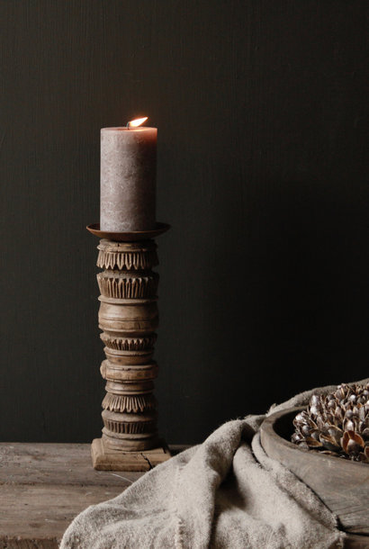 Old wooden Nepalese baluster candlesticks