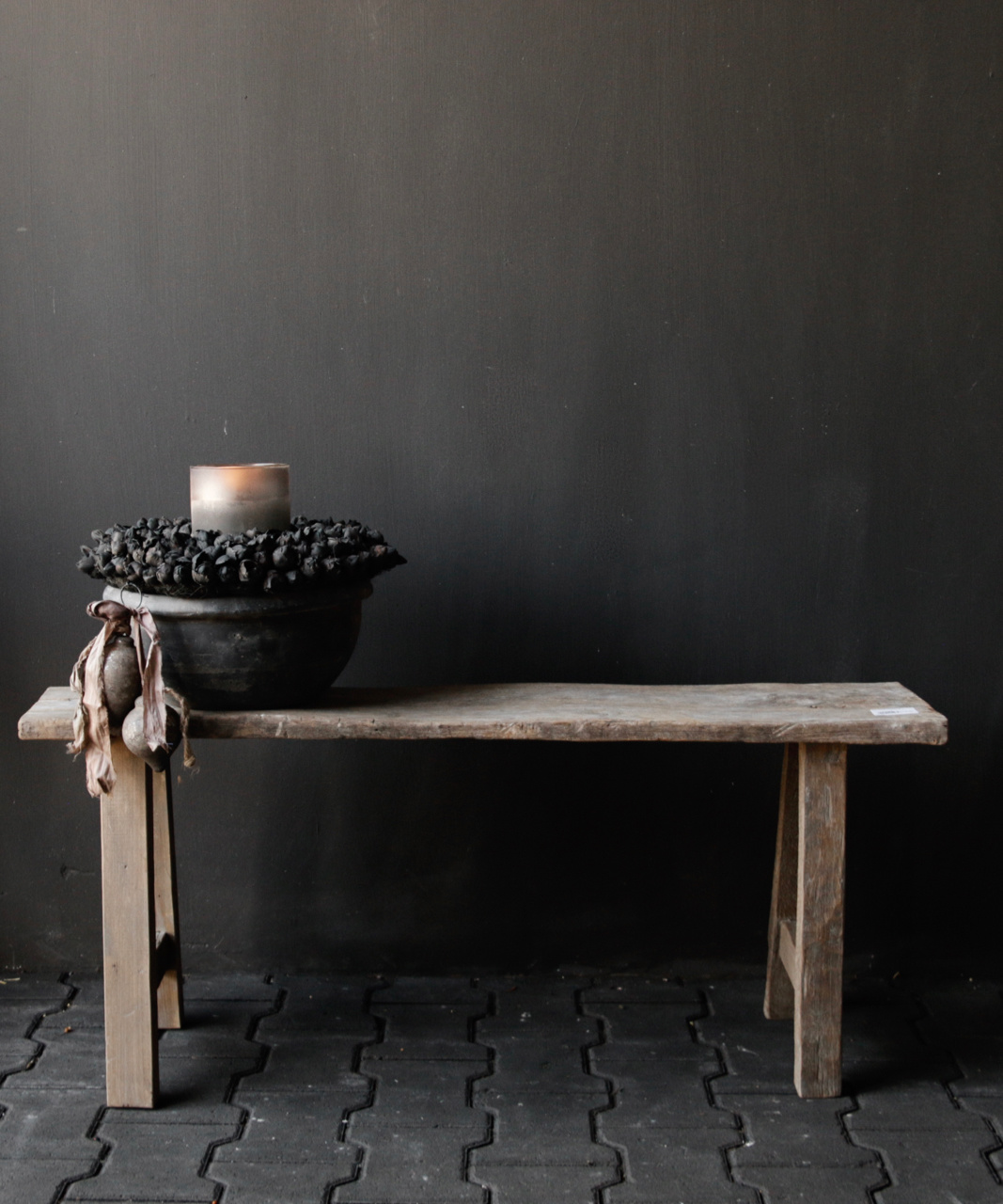 Tough robust bench made of old wood-1
