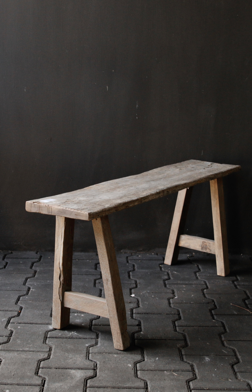 Tough robust bench made of old wood-2