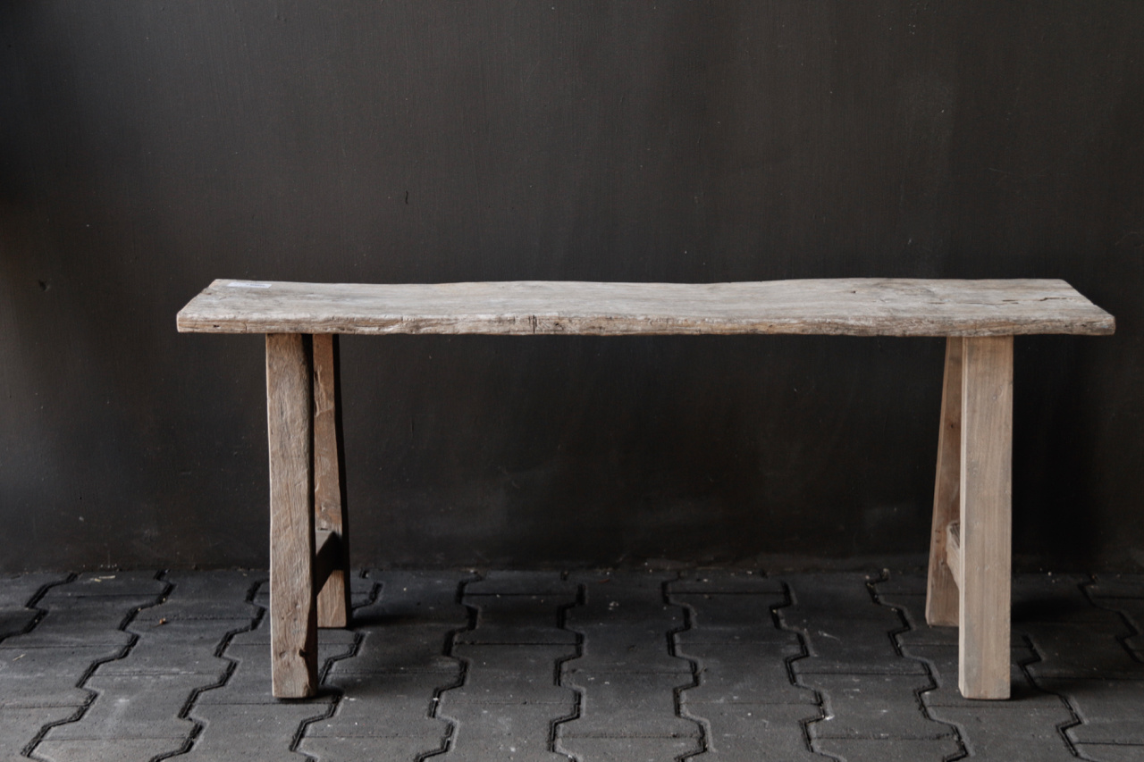 Tough robust bench made of old wood-3