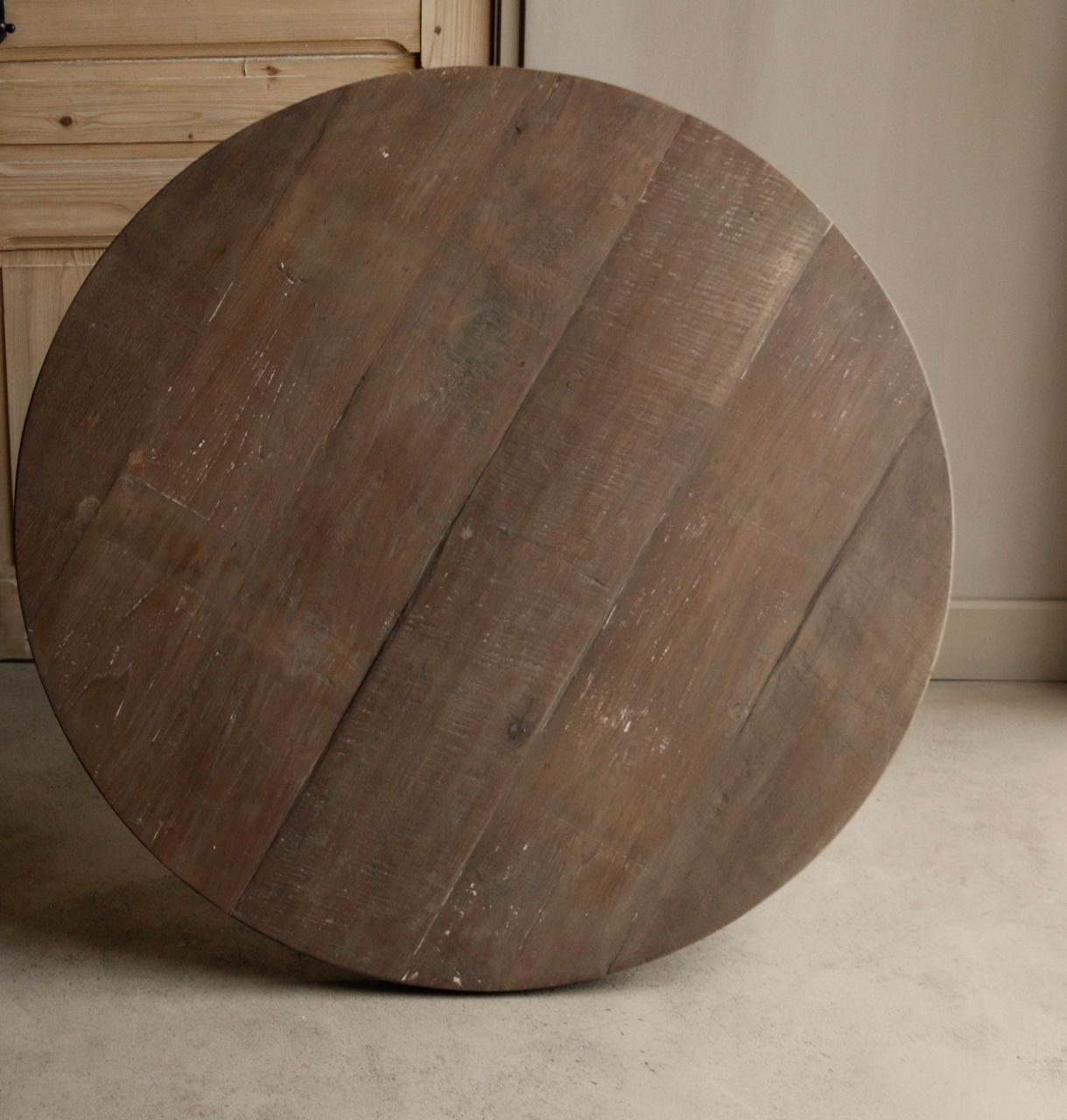 Stoere  ronde tafel gemaakt van oud gebruikt hout-8