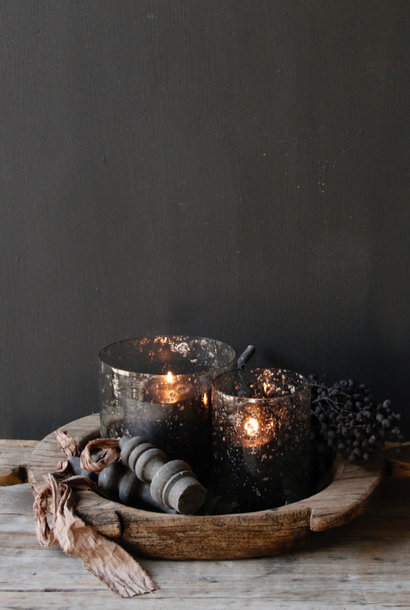 Glass lanterns with pieces of metal in the color gray