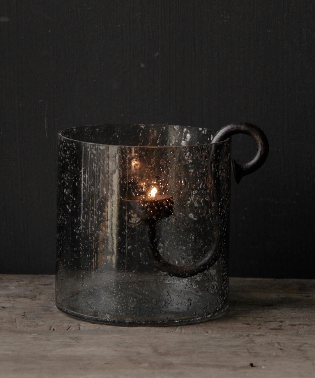 Glaslaternen mit Metallteilen in der Farbe grau-3