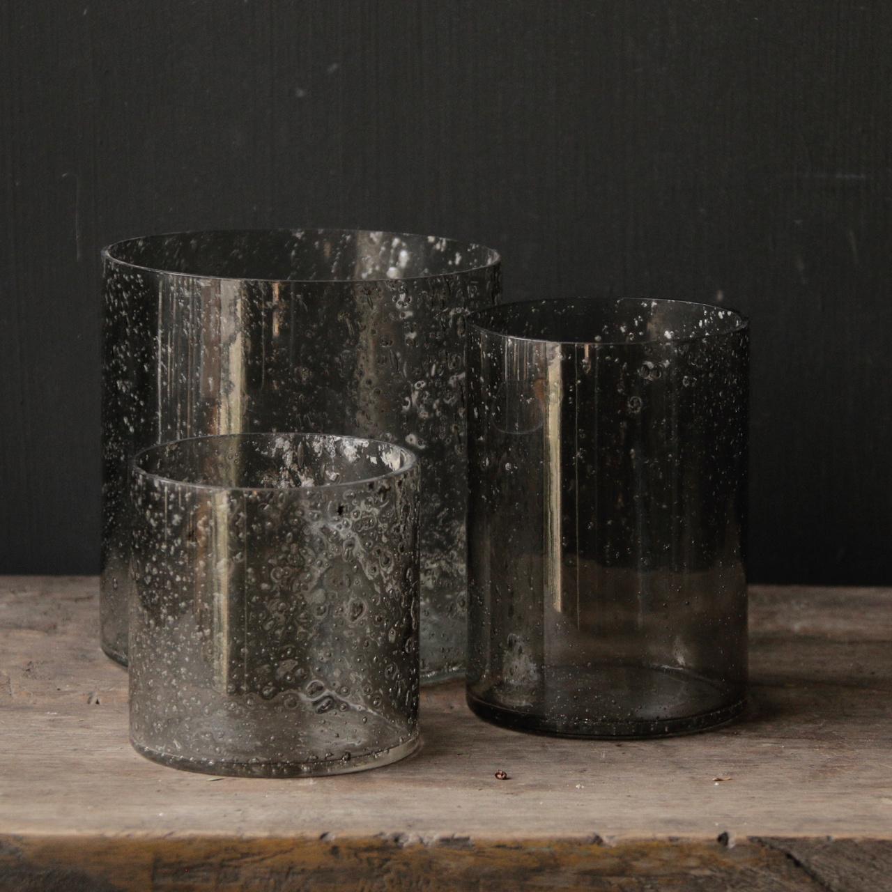 Glaslaternen mit Metallteilen in der Farbe grau-4