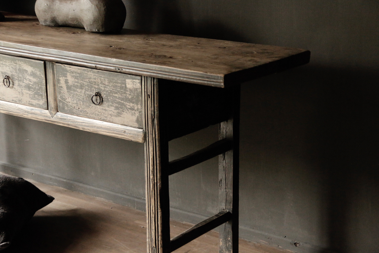 Authentic Sidetable or wall table with drawers-2