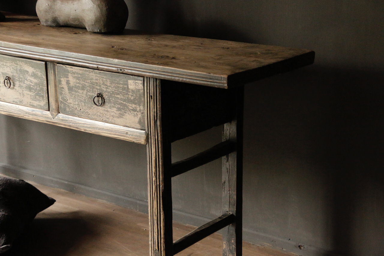 Authentic Sidetable or wall table with drawers-3