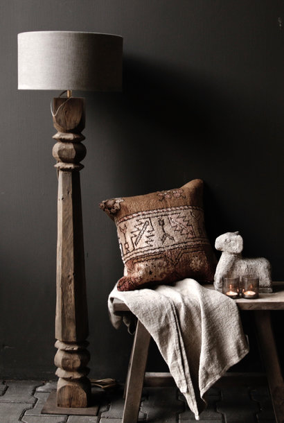 Prachtig Oude Houten Baluster vloerlamp voet