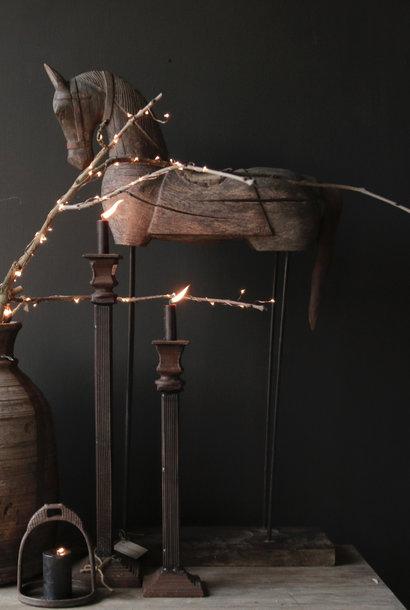 Geweldig! mooi Uniek Authentiek  oud houten paard op ijzeren statief