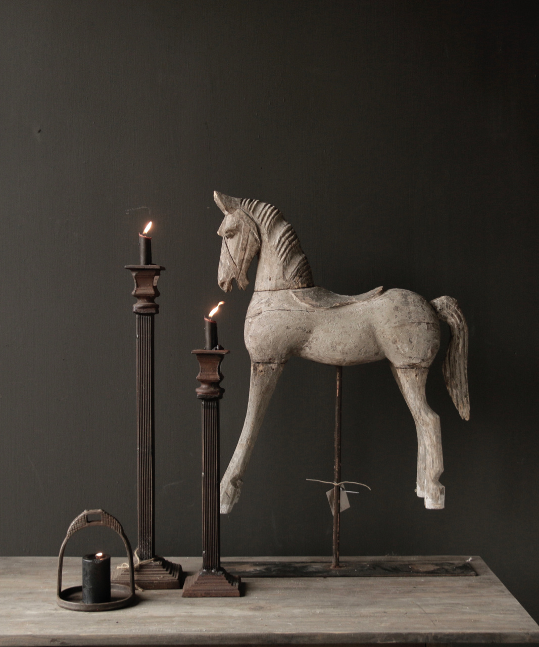 Beautiful Unique Antique wooden horse on iron standard-1