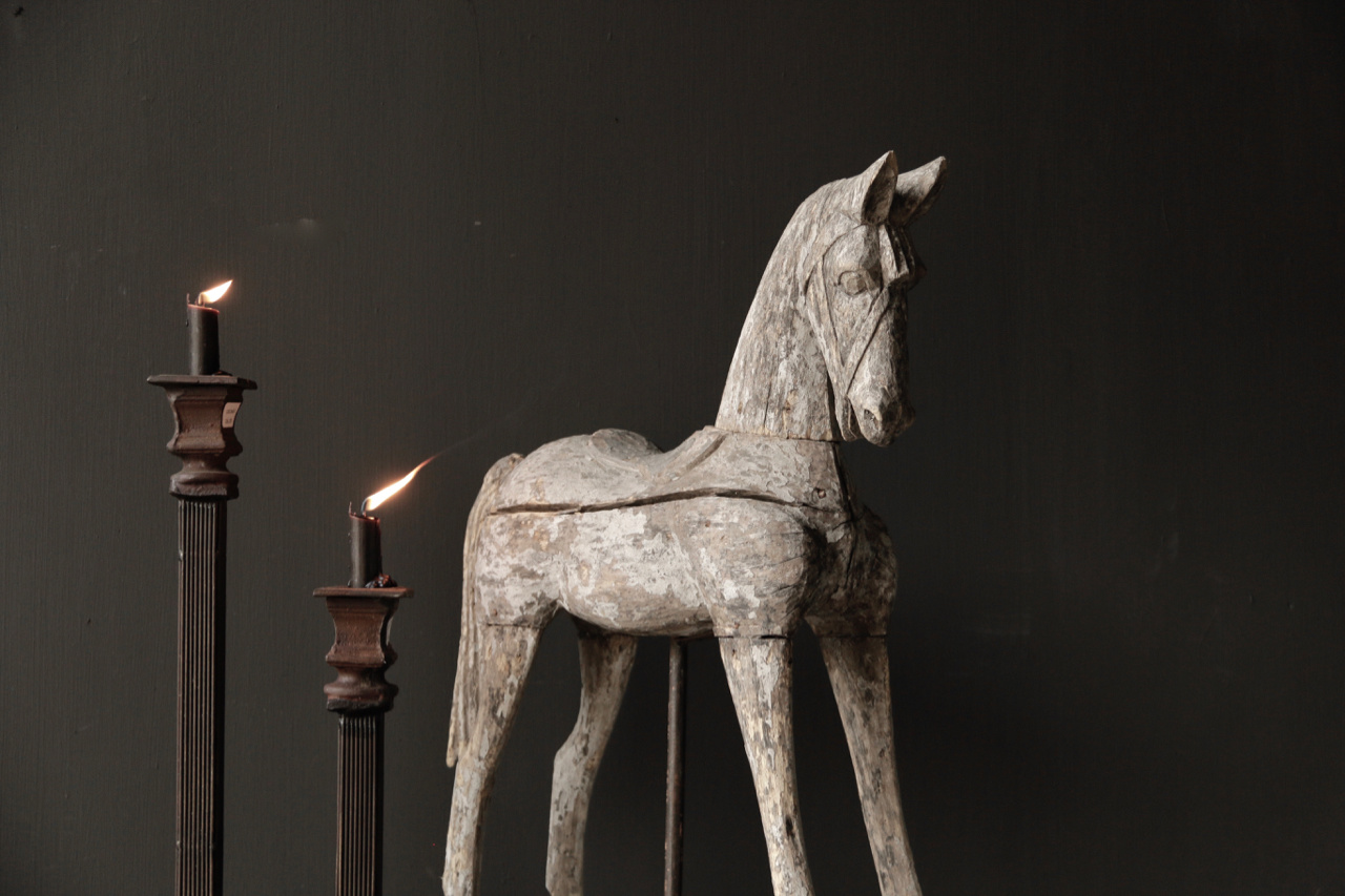 Beautiful Unique Antique wooden horse on iron standard-4