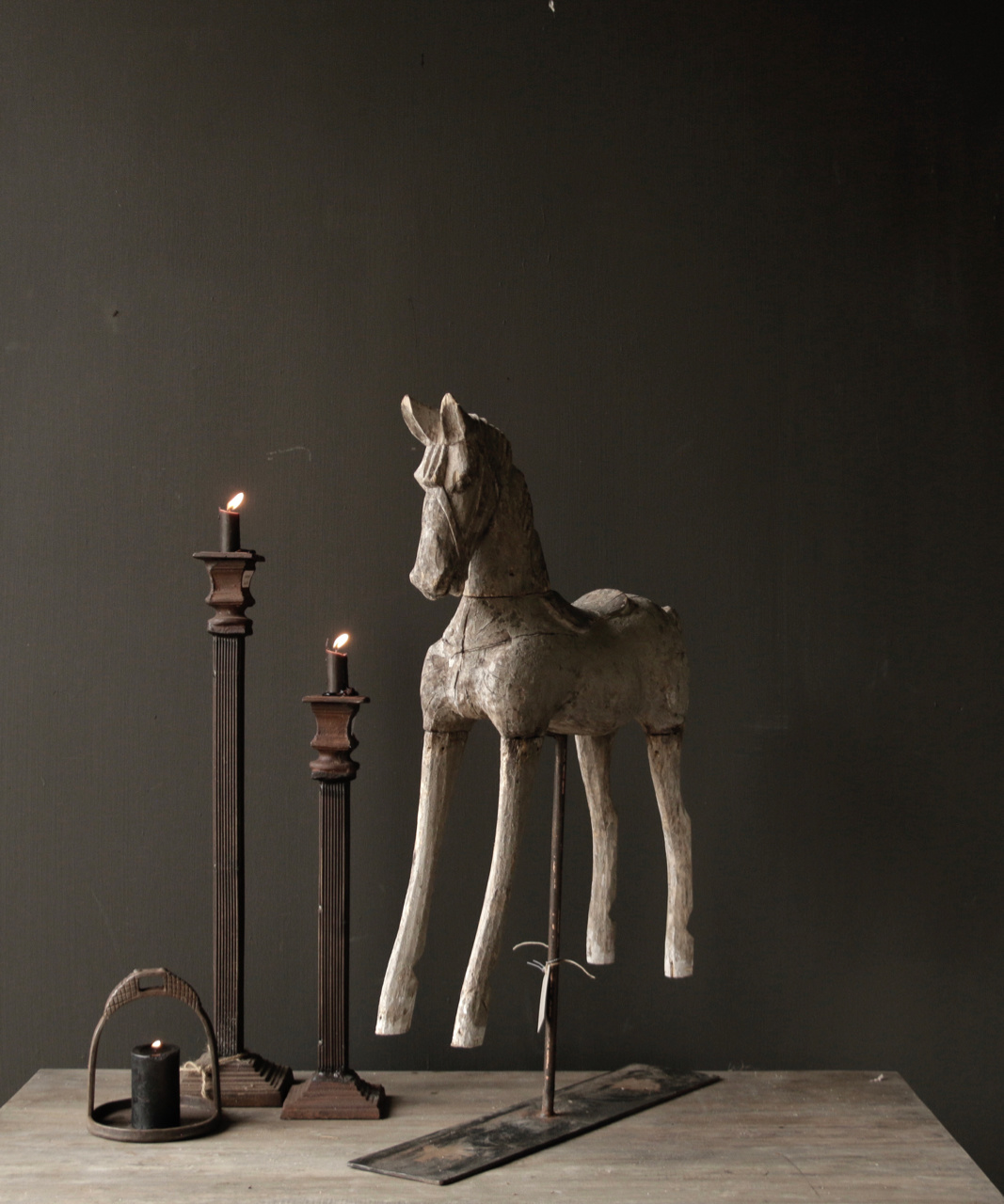Beautiful Unique Antique wooden horse on iron standard-5