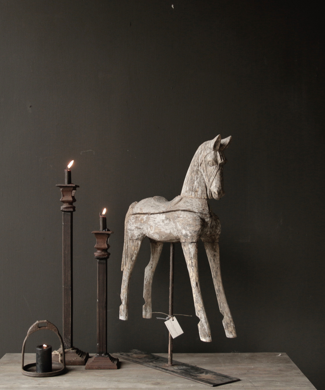 Beautiful Unique Antique wooden horse on iron standard-6