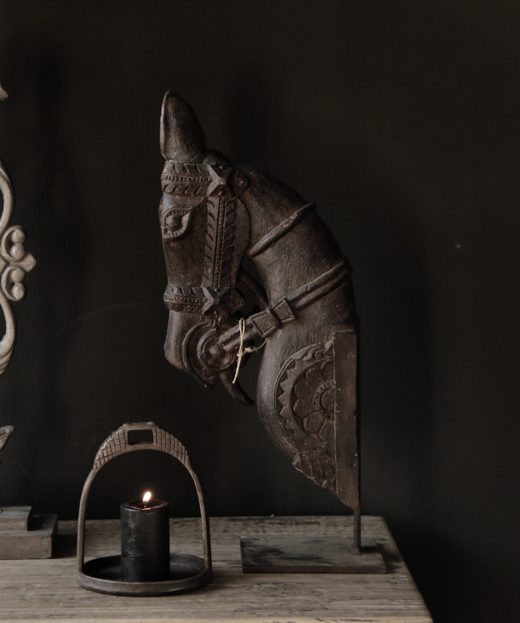 Beautiful unique wooden horse head on iron standard-6