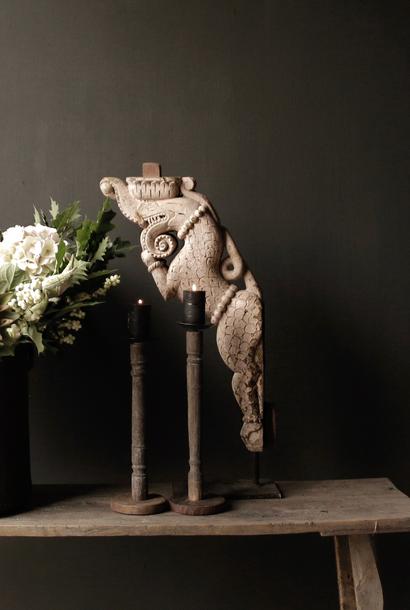 Uniek Indisch houten Olifant ornament op stalen voet