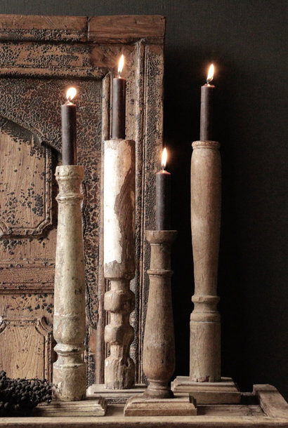 Wooden Nepalese old candlesticks