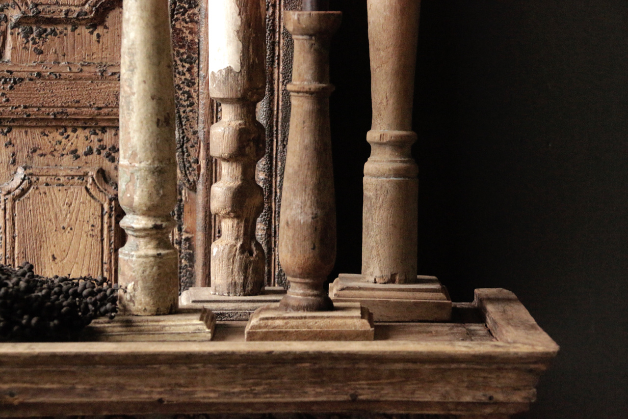 Wooden Nepalese old candlesticks-2