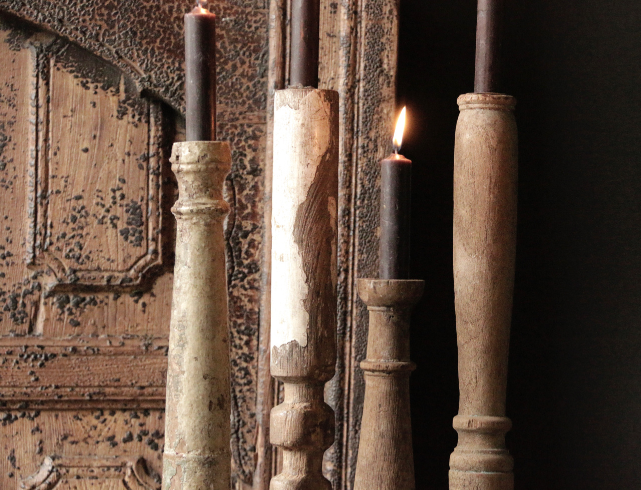 Wooden Nepalese old candlesticks-3