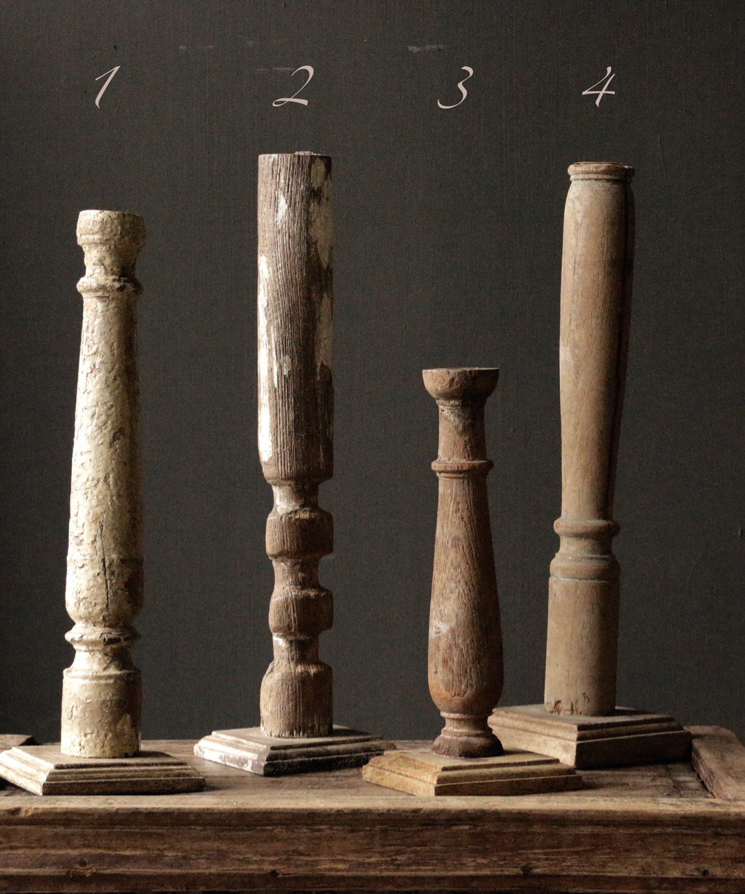 Wooden Nepalese old candlesticks-4